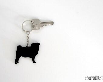Pug Keychain Silhouette