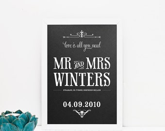 Love is all you need personalised wedding art print