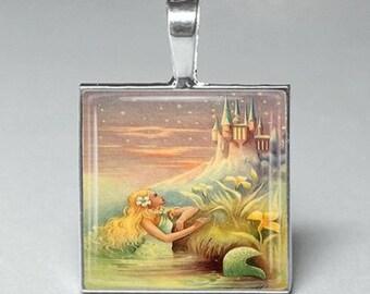 Vintage style pretty blonde mermaid sea beach glass tile pendant jewelry