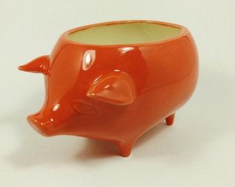 Ceramic Pig Planter -  Red Orange Glaze - Handmade - Retro '60s Style - Ready to Ship