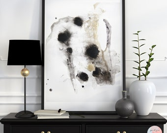 Abstract painting fine art print in black & gold SP No.14 / download file /.