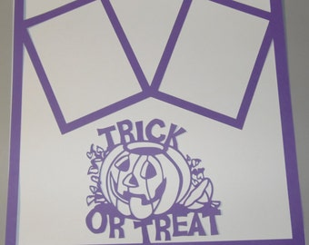 Trick or Treat Halloween Jack O latern, frames die cut Scrapbook Cardstock 12x12 overlay embellishment  page Choose Color