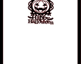 Happy Halloween with Jack O latern die cut  Scrapbook Cardstock Overlay 12x12 embellishment  Page Choose Color