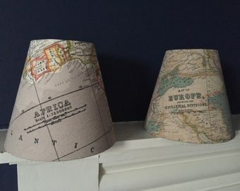 Rustic World Map Candle Clip Lampshades