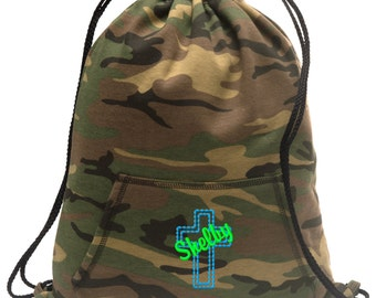 Sweatshirt material cinch bag with front pocket and embroidered spirit design - Cross  - Multiple Colors - Camouflage - BG614