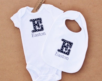 Personalized Letter Applique Onesie / Bodysuit and Matching Bib Set- Cute and Simple!