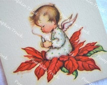 Vintage Christmas Card  - Poinsettia Baby Angel Blowing Out Candle - Unused Rust Craft