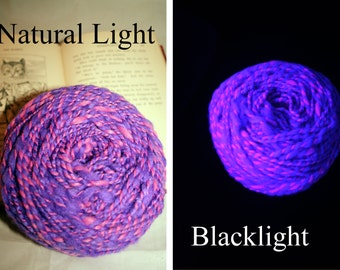 Cheshire Cat Blacklight Yarn Handspun Yarn UV Reactive Glows under a Blacklight