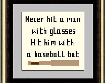 Never Hit a Man with Glasses Cross Stitch Pattern PDF Instant Download -  Subversive,  Easy