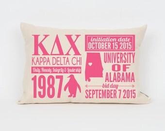 Kappa Delta Chi Custom Sorority Facts Pillow // Greek Letter Pillow // Big Little Gift // Sorority Letters // Sorority Gift // Dorm Decor