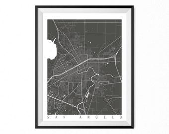 San Angelo Map Art Print / San Angelo City Poster / San Angelo Wall Art / Texas/ Gift / Texas home decor