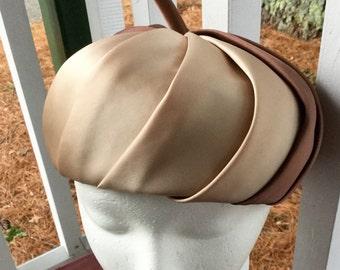 Vintage Womans Hat Herbert Bernard NY Brown & Tan Swirl Excellent Condition