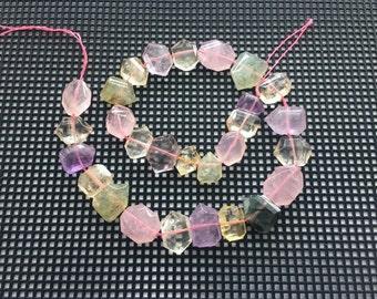Full Strand Mixed Stones of Amethyst, Citrine, Lemon Quartz, Rose Quartz and Prehnite Faceted Flat Nugget Beads