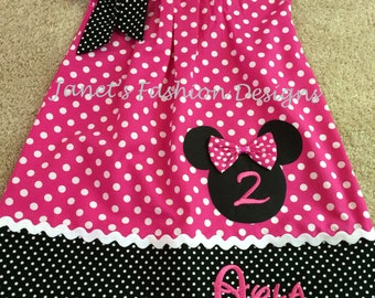 Hot Pink Minnie Mouse Pillowcase Dress - Minnie Mouse Polka dots Pillowcase Dress - Fashion Pillowcase Polka dots