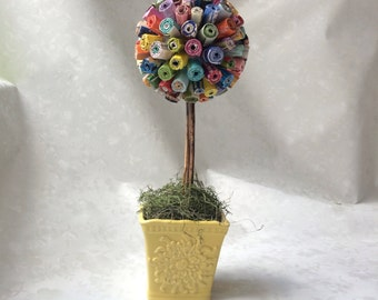 Topiary Tree, Multi-colored topiary tree made from magazines, unique topiaries, colorful topiaries, recycled topiaries, up cycled topiaries