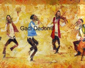 Jewish Art/Paper Or Canvas Print Ready to Hang/Music Art/Judaica Art/Musicians/jewish /Passover Gift/Israel/  Musicians/Dancers/Art Prints