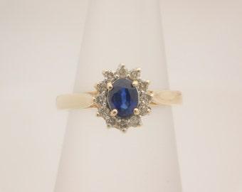 14K Yellow Gold Blue Birthstone ( SEPTEMBER ) And Diamond Ring