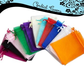 "SALE -50 Organza Bags, 4"" x 6"" favor bags - Orange/Black Organza Bags for HALLOWEEN & THANKSGIVING"