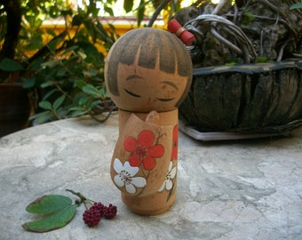 1970s Vintage Girl Kokeshi Doll Enamel Painted Sakura Flower Design Kimono With Headdress