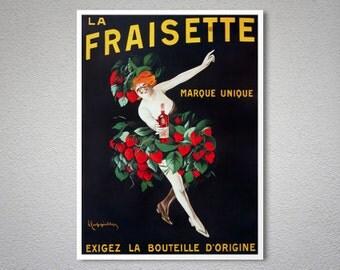 La Fraisette Vintage Food & Drink Poster - Poster Print, Sticker or Canvas Print / Gift Idea