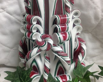 Hand Crafted Ribbon Candle Refillable Red, Green and White Handmade Candle Christmas gift