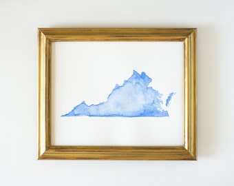 Virginia State Watercolor Art in Blue