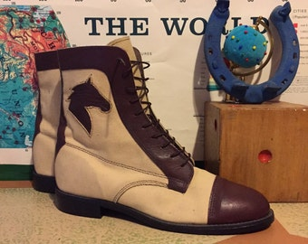Canvas and Leather Horse Head Lace-up Boots