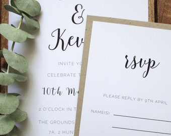 Rose Invitation Suite   Simple Wedding Invitation   A5 Invitation & RSVP   Eco-friendly Recycled Paper   Rose Collection