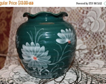 Christmas In July Hunter Green Pottery Vase with Blue Flowers
