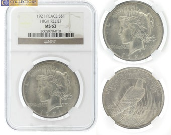 1921 Peace S1 Silver Dollar High Relief NGC MS63
