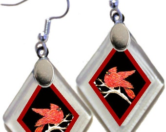 "Earrings ""Cardinals"" from rescued, repurposed window glass~art by Annie Miller Romero"
