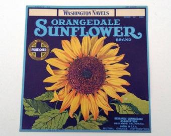 Valencias Orangedale Sunflower Brand Vintage Crate Label/ 50s Label/ Vintage Label/ Vintage Ephemera/ 50s Ephemera