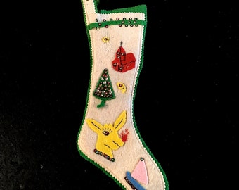 Vintage Felt Christmas Stocking, Green and White Pinked Edges, 16 inch, Rudolph Red Nosed Reindeer, Japan, Circa 1960s