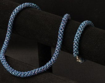 Midnight Blue Sparkly Necklace and Bracelet Set