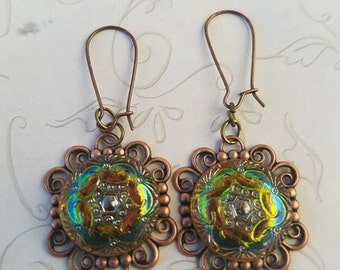 Green Czech Glass Earrings