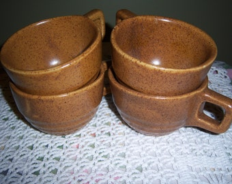 Vintage 4 Cups Made in USA by Monmouth Western Pottery Mojave Pattern Brown Speckled Stoneware