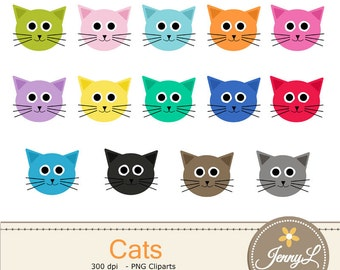 Cat Head clipart, colorful Cats for Planners, Digital Scrapbooking, Invitations, cupcake toppers, Stickers, Labels