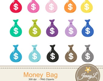 Money Bag, Dollar Clipart Payday Salary Clipart for Planners, Digital Scrapbooking, Invitations, cupcake toppers, Stickers, Labels