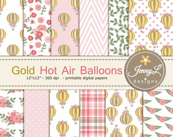 Gold Hot Air Balloon Digital Papers for Digital Scrapbooking, Invitations, Planners,