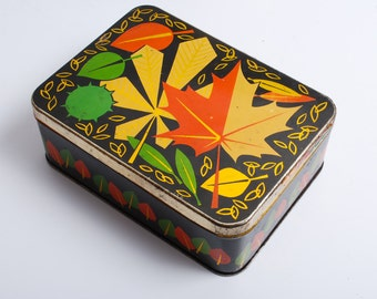 Antique vintage Tin Metal Candy Box, Case, autumn maple leaves (C0121)