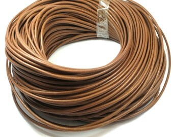 5 Meters Round Light Brown Leather Cord 3mm, Genuine Leather Cord,Leather String