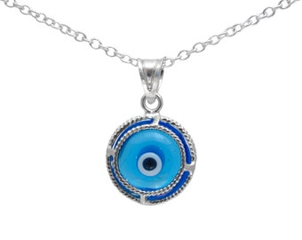 Silver Evil Eye Round Pendant Necklace EVL010