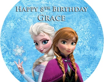 "Frozen Cake Topper 7.5"" Round, Square, Rectangle or Cupcakes, Edible Icing"