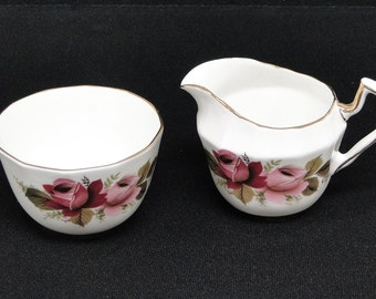 Society Fine Bone China Cream And Sugar With Red Pink Rose Design Made In England