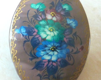 Sorry Now SOLD Vintage Hand Painted Russian Lacquer Flower Brooch.