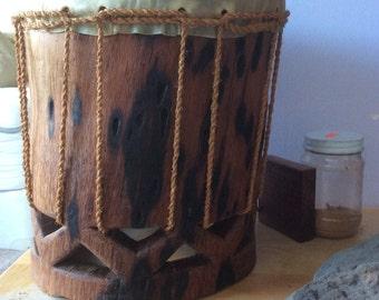 Hawaiian Drum Pahu Small with Aha cordage. Handmade out of Cocoanut - Niu