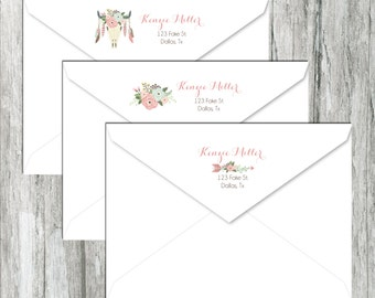 Custom Return Address Labels - Boho Tribal - Stickers