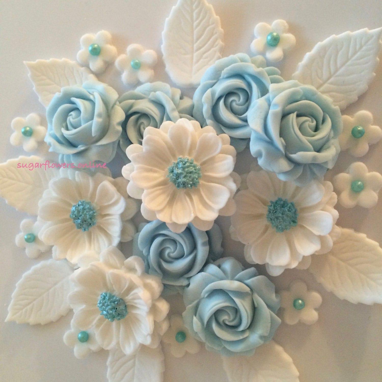 Wedding Cake Sugar Flowers: BABY BLUE ROSE Bouquet Edible Sugar Paste Flowers Wedding Cake