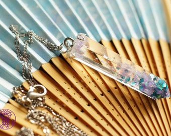 Mermaid Glitter Resin Crystal Necklace - Nickel free