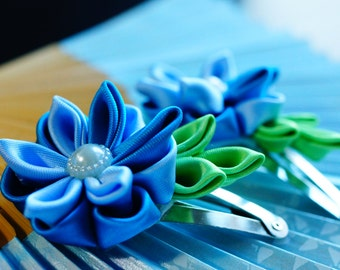 Set of two cute Kanzashi hair clips - blue